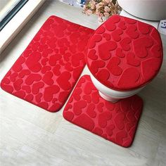 Cheap Bath Mats, Buy Directly from China Bathroom Mat Set Embossing Flannel Floor Rugs Cushion Toilet Seat Cover Bath Mat for Home Decoration Bathroom Carpet, Bathroom Toilets, Bathroom Rugs, Bath Rugs, Bath Linens, Bathroom Bath, Warm Bathroom, Washroom, Bathroom Mat Sets