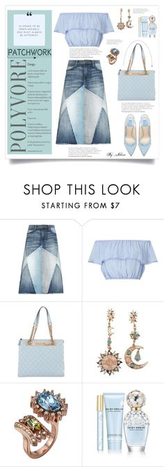 """""""All Patched Up: Patchwork"""" by jelenalazarevicpo ❤ liked on Polyvore featuring Current/Elliott, Miss Selfridge, Chanel, Mawi and Marc Jacobs"""