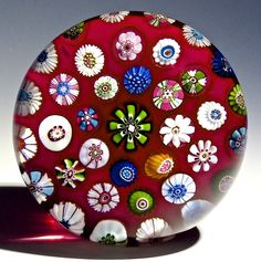 """Clichy {France} paperweight - Antique 37 Canes over """"Ruby Sodden Snow"""", 1845-50. 3""""w x 1 3/4""""t, 17.7 oz. - #0770"""