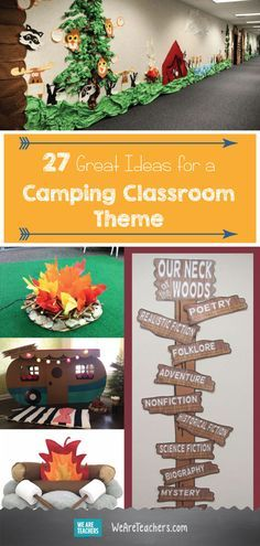 27 Great Ideas for a Camping Classroom Theme: Camping Theme Bulletin boards, Door decorations, and camping theme school supplies. - New Deko Sites Preschool Classroom Themes, Classroom Decor Themes, Classroom Design, Kindergarten Classroom, Classroom Ideas, Themes For Classrooms, Classroom Teacher, Classroom Behavior, Classroom Setting
