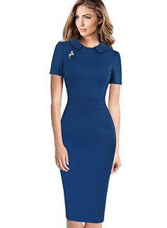 Vfemage Womens Elegant Vintage Wear to Work Business Bodycon Sheath Dress 6185 BLU 18