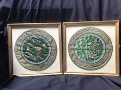 PAIR OF FRAMED VINTAGE ORIENTAL SILK EMBROIDERY ROUNDS WITH AN AVIAN AND BOTANICAL MOTIF. 20H X 20W