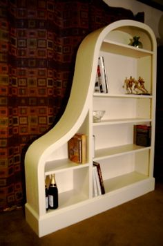 White Linen Baby Grand Piano Bookcase