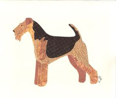 Airedale Terrier Cut Up. via Etsy.