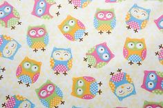 Cute Owls Fabric  Cotton  42 inches  End of by Sweetbobbinsfabric, $14.00