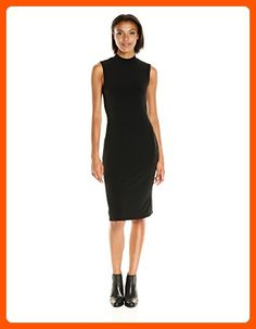 VELVET BY GRAHAM & SPENCER Women's Stretch Jersey Mock Neck Dress, Black, L - All about women (*Amazon Partner-Link)