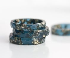 Midnight Blue Resin Indigo Stacking Ring Gold Flakes Thin Faceted Ring OOAK saphire navy blue glam minimalist jewelry deep blue rusteam on Etsy, $30.08