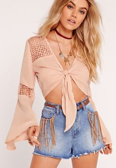 Missguided - Crochet Insert Tie Front Blouse Nude