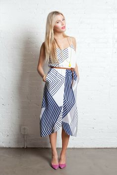 Parallel lines in navy and white. Pink shoes. Nautical with a twist.