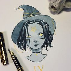 Wicked witch for day 4 painting with waterproof ink is HARD, I dont recommend it.