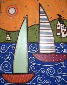 RUG HOOK PAPER PATTERN 2 Sailboats & Houses FOLK ART ABSTRACT PRIMITIVE Karla G