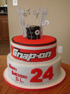 "snap+on+cake | tier cake. Top cake is 8"" covered and decorated w/ fondant. Base cake ..."