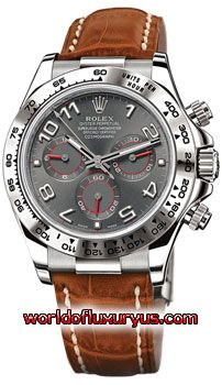 116519 SABR - Rolex Oyster Perpetual Cosmograph Daytona Watches. 40mm 18K white gold case, tachymeter engraved bezel, screw-down push buttons, slate dial, Arabic numerals, and brown strap with 18K white gold deployable fliplock clasp. - See more at: http://www.worldofluxuryus.com/watches/Rolex/Daytona/116519-sabr/641_645_5022.php#sthash.fMgjTK4P.dpuf