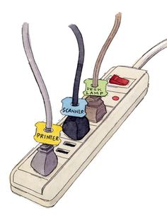 Master your power strip    Make sense of a row of identical-looking cords on a fully loaded power strip by using plastic bread-bag tags to label cables.    Read more: Organizing Ideas - Home Organization Ideas - Redbook