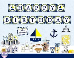 Nautical Birthday boy or girl Package by EasyPartyPrintables,