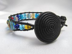 Women's Black Leather Blue Yellow Red Glass by PlethoraGifts, $18.00