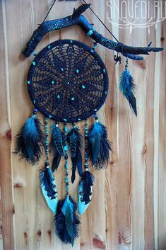 """Dream catcher """"Black Caravan"""" bohemian black color lace black color in dream - Black Things Blue Dream Catcher, Dream Catcher Decor, Dream Catchers, Rock Crafts, Arts And Crafts, Dream Catcher Wallpaper Iphone, Witch Tattoo, Dream Catcher Native American, Diy Projects Cans"""