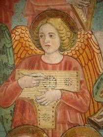 Antoniazzo Romano: Psalterium-  dettaglio da La morte di Santa Francesca Romana, 1468,  Roma, Monastero di Tor de' Specchi
