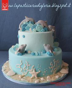 A tender cake with dolphins cake wedding cake kindergeburtstag ohne backen rezepte schneller cake cake Dolphin Birthday Cakes, Dolphin Birthday Parties, Dolphin Cakes, Dolphin Party, Beach Themed Cakes, Beach Cakes, Fancy Cakes, Cute Cakes, Fondant Cakes