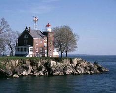 South Bass Island Lighthouse, Lake Erie and Put-in-Bay. Historical Ohio landmark.