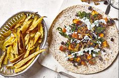 For a vegan lunch idea, try this black bean and sweet potato wrap recipe, served with parsnip chips and zingy yogurt. See more vegan recipes at Tesco Real Food. Healthy Foods To Eat, Healthy Baking, Healthy Dinner Recipes, Diet Recipes, Cooking Recipes, Vegan Recipes, Meatless Recipes, Savoury Recipes, Healthy Dinners