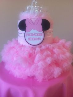 Baby Minnie Mouse diaper cake. A fabulous centerpiece for a Baby Minnie themed baby shower!