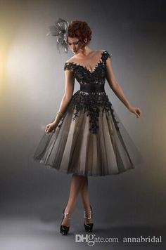 Sheer Scoop Short Prom Dresses Cap Sleeves Champagne with Black Lace Tulle Corset Gothic Cheap Women Formal Evening Gowns 2015 Vestidos New