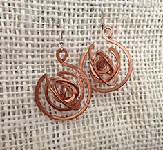Hammered Copper Earring Swirl Galaxy Large by NMPCopperCreations, $25.00
