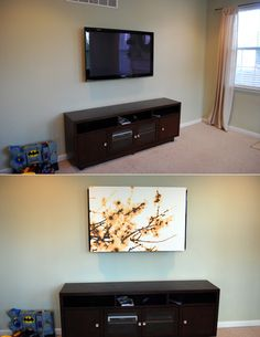 Use an inexpensive printed canvas from IKEA to hide your flatscreen TV. | 36 Genius Ways To Hide The Eyesores In Your Home