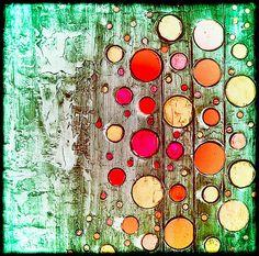 Abstract Retro Circles Painting by Laura Carter. #Circles #Homedecor