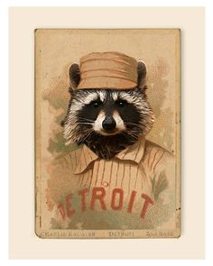 Rabid Charlie Racater of the Detroit Wolverines - 8x10 -Vintage old time baseball cards print. $12.75, via Etsy.