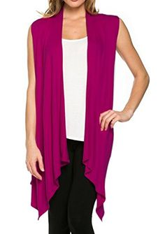 """""""$ 9.45 Women's Lightweight Sleeveless Asymmetrical Hem Open Front Viscose Cardigan Vest.Color : Purple RedCardigan Perfect for Casual,Normal,Everyday,Party.This is a beautiful,cute and amazing Cardigan available at very cheap prices.Will be available in various colors and sizes.This can be worn during winters.fall,summer,spring""""Women's Lightweight Sleeveless Asymmetrical Hem Open Fron..."""