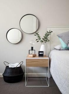 Bed inspo. Black white monochrome grey minimalist Scandinavia inspiration decor ideas round mirror #MinimalistBedroom