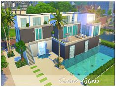 Spacious modern house with pool and waterfalls! It has 3 bedrooms (1 is for kids), big living room, kitchen and dining room for parties.  Found in TSR Category 'Sims 4 Residential Lots'