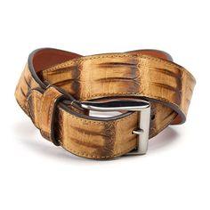 "Genuine Crocodile Tail Belt  // Olive (32"" Waist)"