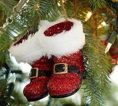 Christmas Ornaments & Christmas Tree Ornaments | Pottery Barn- Santa boots