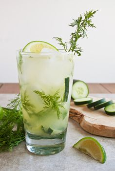Dill-icious Cocktail - Fresh dill and cucumber muddled with tequila and lime juice and topped with club soda!  So light and refreshing!