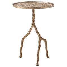 Clark Street Silvered Iron Tripod Twig Side Table Also Available in Distressed…