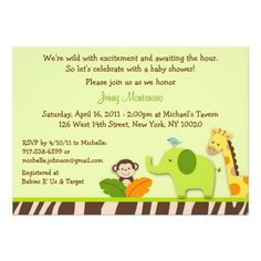 Wildlife Jungle Animal Baby Shower Invitations