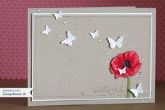 Glückwunschkarte mit Mohnblume « Stempelwiese