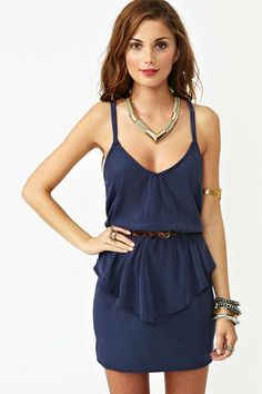 Twisted Peplum Dress - Navy at Nasty Gal