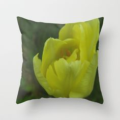 yellow tulip Throw Pillow by Platinepearl - $20.00