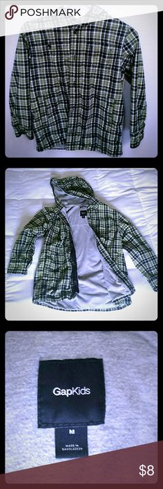 Gap Lined Hooded Flannel This flannel is pre-loved and in excellent condition. Grey knit lining throughout, 4 pockets. GAP Shirts & Tops