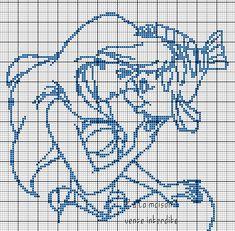 Sirenita Ariel y pez Flounder Ariel et polochon en grille monochrome : Beaded Cross Stitch, Crochet Cross, Crochet Chart, Cross Stitch Charts, Cross Stitch Embroidery, Disney Cross Stitch Patterns, Modern Cross Stitch Patterns, Cross Stitch Designs, Stitch Disney