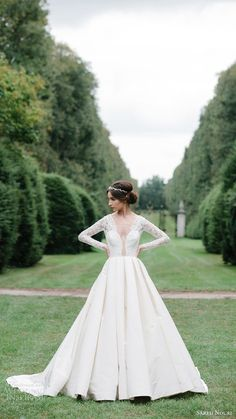 sareh nouri bridal fall 2016 long sleeve deep vneck aline ball gown wedding…