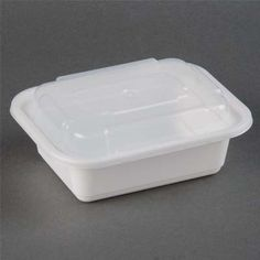 12 oz Microwaveable White Rectangular Container Lid Combo 150 CT