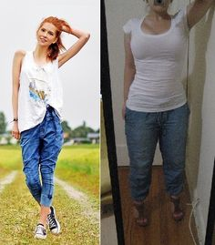Jean Joggers - Outfits restyled from Pinterest for the Petite Hourglass on a budget!  idpinit.wordpress.com