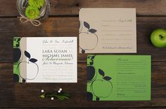 Apple Orchard Wedding Invitations  Green Navy by ruffhouseart