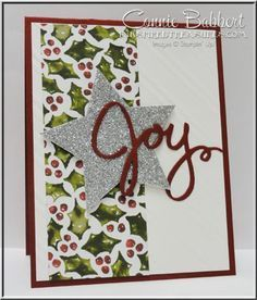 Joy, Wreath Framelits, Star, Holly, Christmas, easy Christmas card, Stampin' Up!, #stampinup, created by Connie Babbert, www.inkspiredtreasures.com