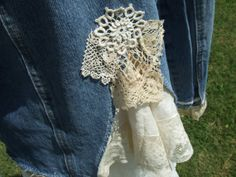 Beautiful Womens denim and lace Shabby Chic upcycled jacket with vintage lace and trims size small